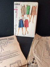 Simplicity Sewing Pattern Vtg 60s Set Of Skirts 24 Waist 33 Hips Pleated Fitted - $10.61