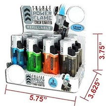 Turbo 3 Flame Torch REFILLABLE Triple Power Flame - 1 Lighter with Random Color