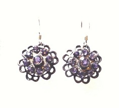Vintage Filigree Genuine Blue Iolite 925 Sterling Silver Earrings - $27.72