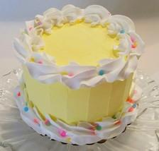 "Yellow  Birthday Cake 6""  Faux Cake- fake unedible kitchen decoration - $26.72"