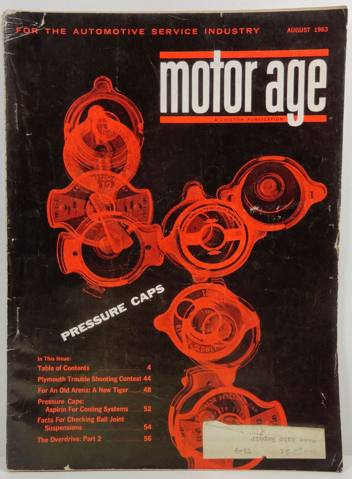 Motor Age August 1963 A Chilton Publication Pressure Caps