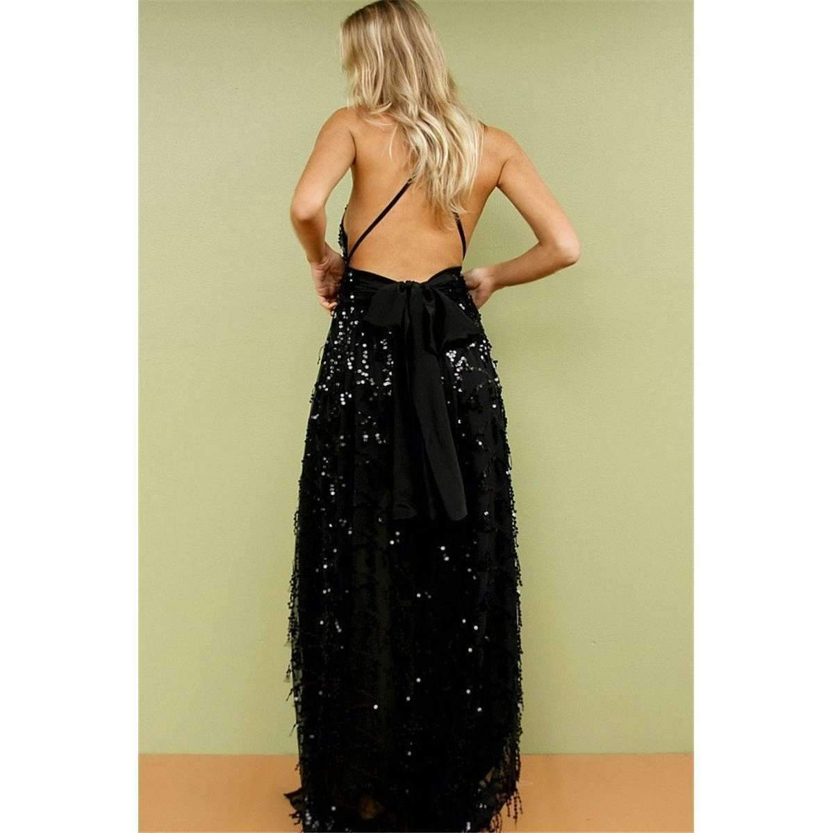 Shimmering Backless Sequined Women Party Long Dress