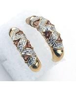 Trillion Cut Garnet Diamond 925 Sterling Silver Gold Vermeil Pierced Ear... - €31,68 EUR