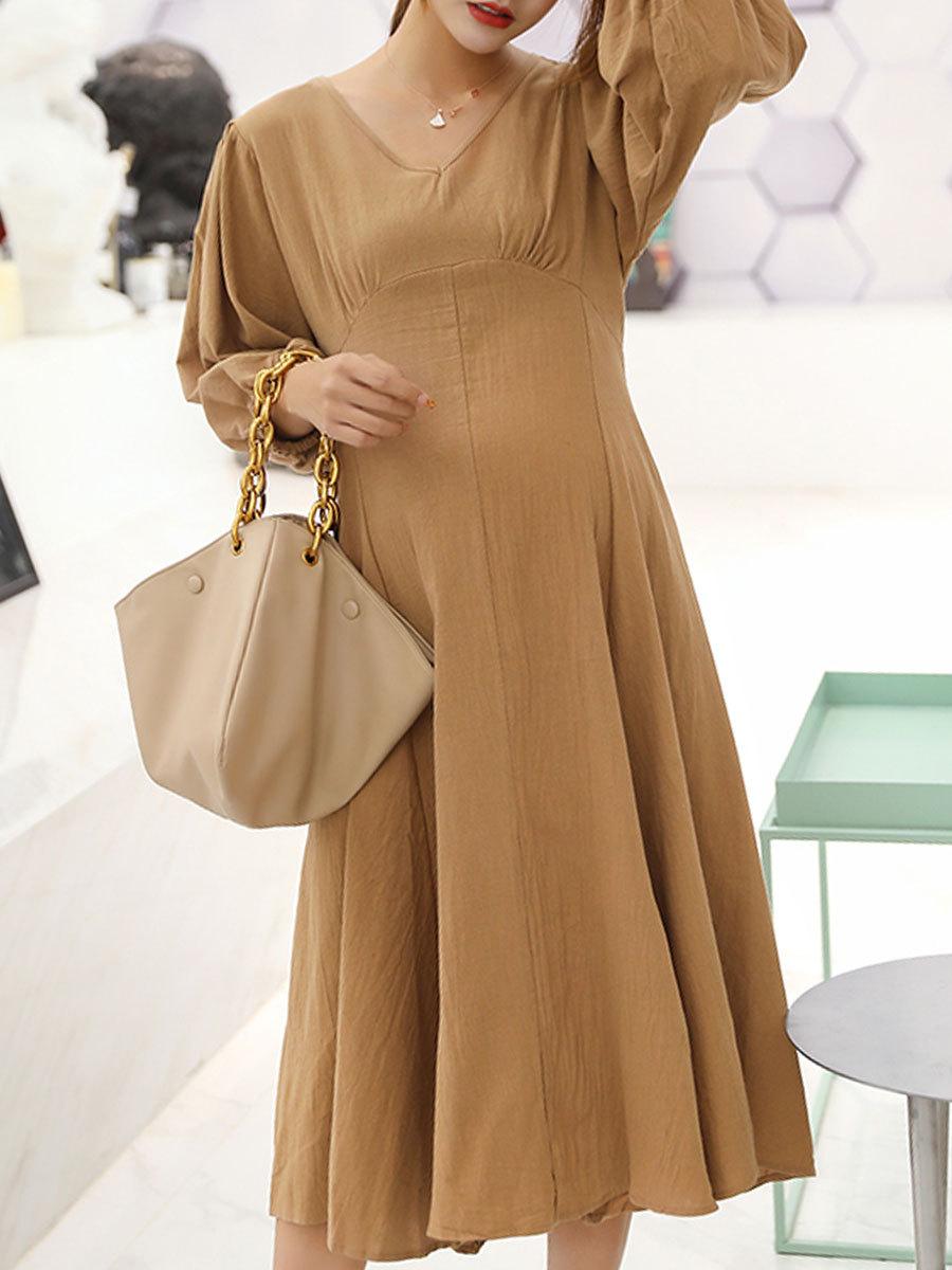 Maternity's Dress V Neck Long Sleeve Solid Color Ladylike Dress image 3