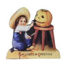 "CC Home Furnishings 4.5"" Glitter Child Carving a Pumpkin Halloween Sign ... - $6.67"