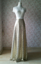Gold Sequined Maxi Skirt High Waist Full Sequined Wedding Bridesmaid Max... - $45.99