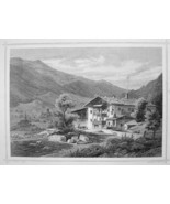 ITALY Sandhof Merano Andreas Hofer House  Tyrol - 1870s Original Engravi... - $21.42
