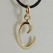 18K YELLOW GOLD PENDANT CHARM INITIAL LETTER C, MADE IN ITALY 0.9 INCHES, 23 MM image 1