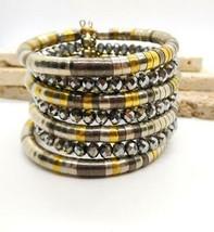 Vintage Boho Tribal Silver Brass Mixed Metal Layered Statement Bracelet S32 - $31.67