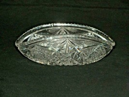 Vintage Clear Crystal Cut Glass Brilliant cut Big Trinket Flower Dish - $31.37