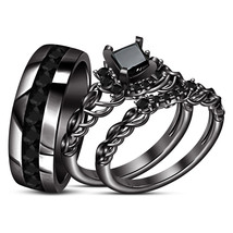 Black Diamond Womens Engagement Ring & His Her Wedding Band Trio Set 925 Silver - $164.99