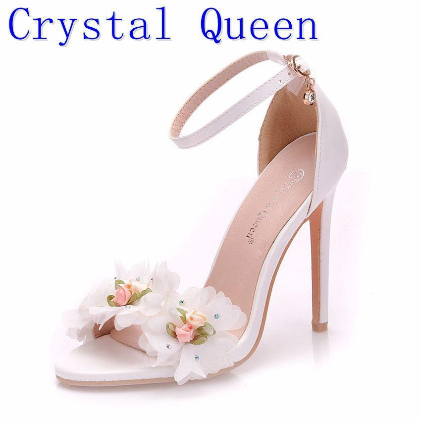 Primary image for Crystal Queen Sweet white Flower Sexy Dress Wedding Shoes Women Lacing Ankle Str