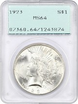 1923 $1 PCGS MS64 (OGH Rattler Holder) - Peace Silver Dollar - $58.20