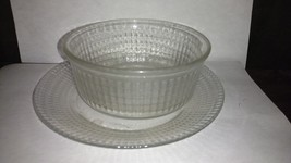 Clear Glass Luncheon Set Soup Bowl Salad Plate Cubed Made in Mexico - $2.00