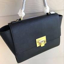 Michael Kors MK Tina Black Leather Medium Satch... - $158.94