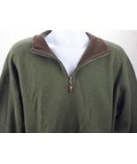 Tommy Bahama Sweater Size L Olive Green Long Sleeve Cotton 1/4 Zipper Men's - $47.03