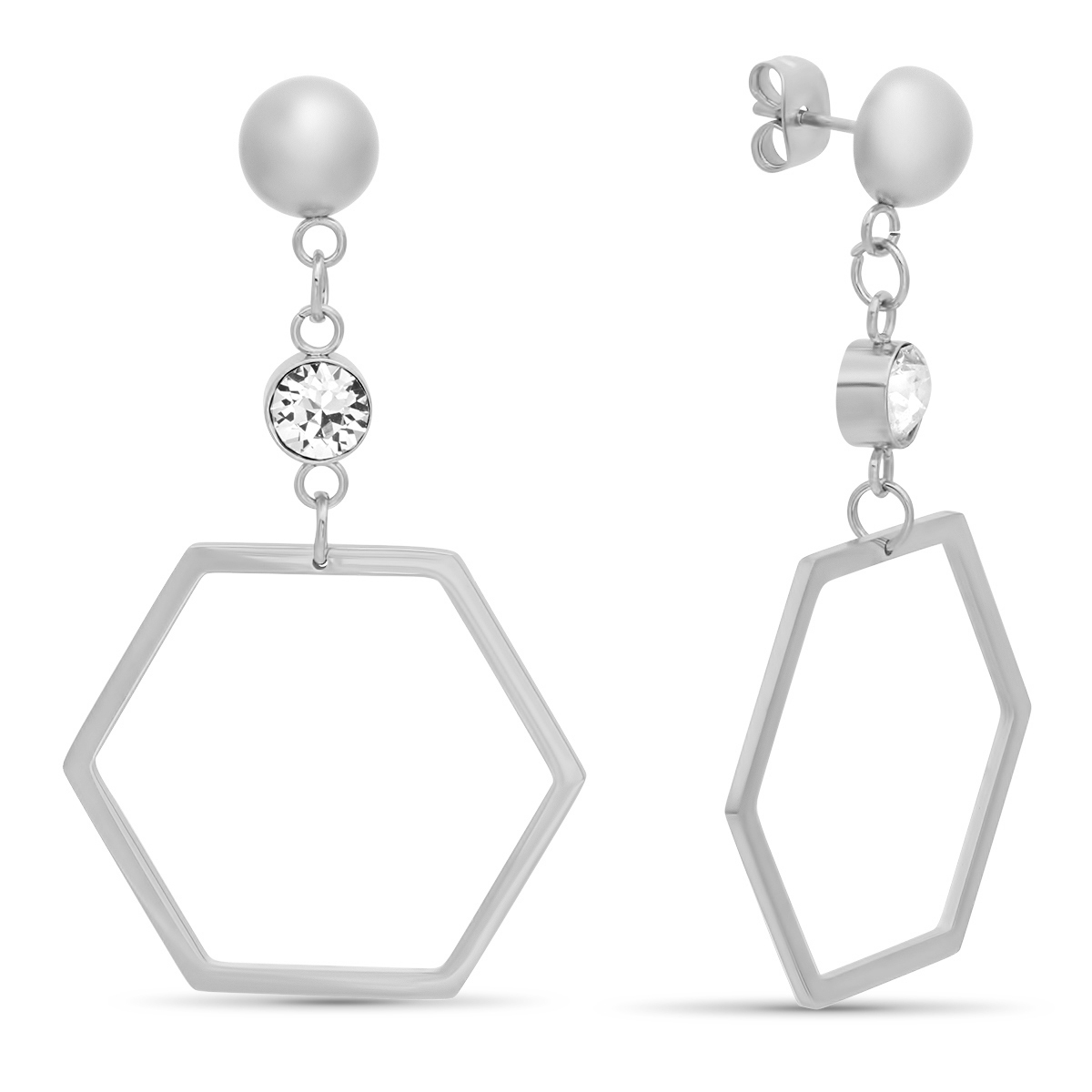 STEELTIME Stainless Steel hexagonal drop earrings adorned w Swarovski crystals