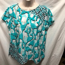 Dana Buchman Womens Sz L Blue Animal Print Knit Shirt Top Cap Sleeve 100... - $9.94