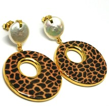 Silver Earrings 925 Hanging Pearls Baroque Style Flat, Ovals Effect Leopard image 1