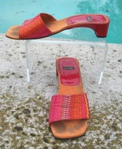 Stuart Weitzman Silk Leather Shoe Sandal EUC 7.5 Slide Red Orange Yellow... - $39.95