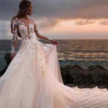 Illusive Lace V- Neck Long Sleeve Wedding Dress Button Backless Lace Ball Weddin image 2