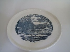 "Royal China Serving Cake Plate 10.5""USA Blue White Winter Ice Scene Hors... - $29.69"