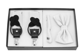 Berlioni Italy Formal Tuxedo Bow Tie Convertible Suspenders Hanky Gift Box Set image 4
