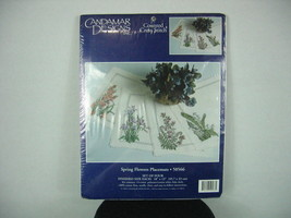 Candamar Counted Cross Stitch 50566 Spring Flowers 4 Placemats 1999 New In Pack - $19.26