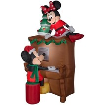 Christmas Airblown Inflatable 7 1/2' Mickey & Minnie Piano Scene Yard De... - ₨11,197.44 INR