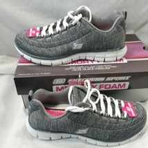 Skechers Flex Elite 7.5M  SN11863 Women's Grey Glitter Eyelets Lace Up Low Heel - $56.06