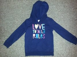 CIRCO Navy Blue Hooded LOVE TOTALLY RULES Sweatshirt Top Girls Size 4-5 ... - $4.50