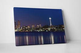 "Seattle Night Skyline Gallery Wrapped Canvas Print 30""x20"" or 20""x16"" - $44.50+"