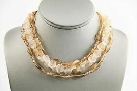 """16"""" ESTATE VINTAGE Jewelry OPALINE GLASS FLOWER & TOPAZ GLASS BEAD NECKL... - $45.00"""