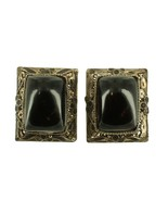 VINTAGE DECO STERLING SILVER & GOLD PLATED LARGE RECTANGLE AGATE EARRINGS - $48.59