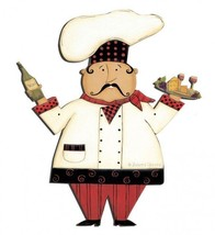 Chef with Wine and Cheese Plasma Cut Metal Sign - $39.95