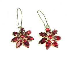 Vtg Red Rhinestone Dangle Earrings Flower Boho Mod * Gold Tone Statement  - $23.71