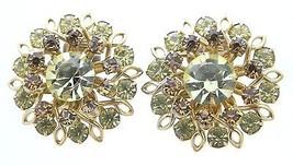 VTG Gold Toned Topaz Citrine Brown Yellow Rhinestone Flower Clip Earrings - $29.70