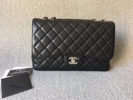 AUTHENTIC CHANEL BLACK CAVIAR QUILTED JUMBO SINGLE FLAP BAG SILVER HARDWARE