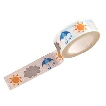 4 PCS DIY Stationery Paper Tapes (Sun and Umbrella Style, 4.5x1.5 cm)
