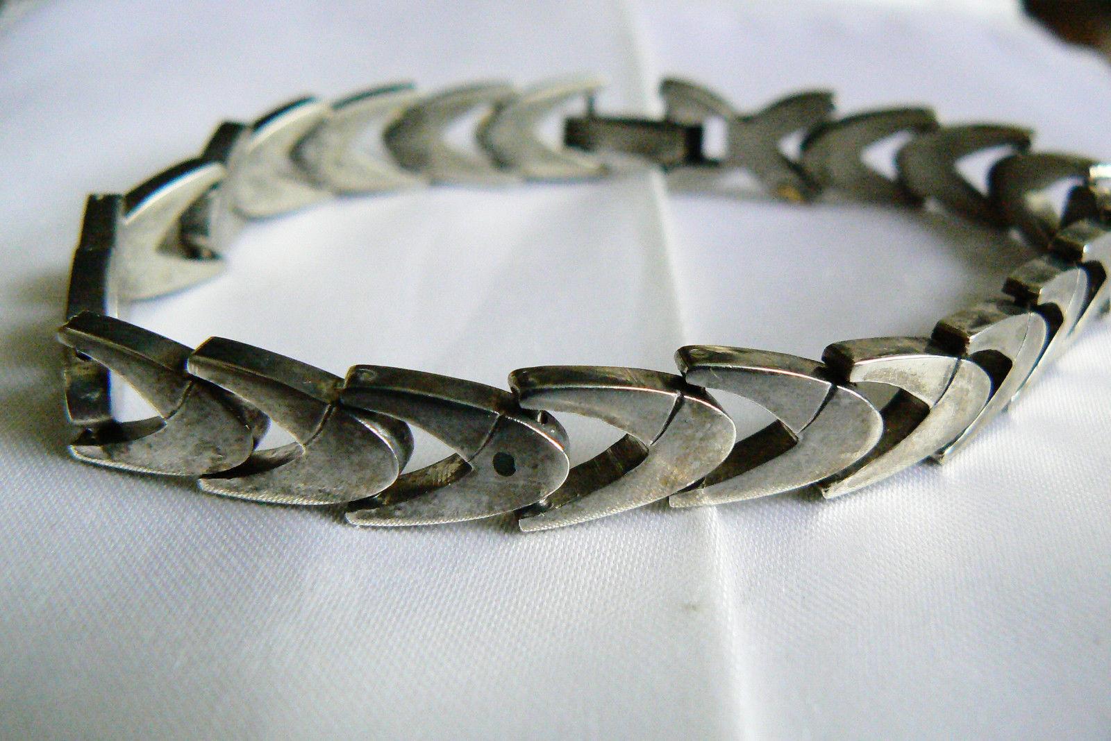 """Vintage Sterling Silver 925 Shevron link  Bracelet 8""""L"""