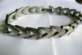 """Vintage Sterling Silver 925 Shevron link  Bracelet 8""""L - $102.17"""