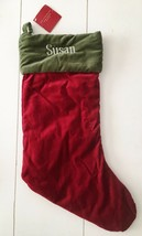 NWT Pottery Barn Red & Green Velvet Christmas Stocking  Monogrammed SUSAN - $20.20
