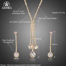 AZORA Gold Color Jewelry Set for Women Water Drop Necklace & Pendant Drop Earrin image 5