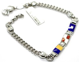 925 STERLING SILVER BRACELET ALTERNATE GLAZED NAUTICAL FLAGS & GOURMETTE CHAIN image 1