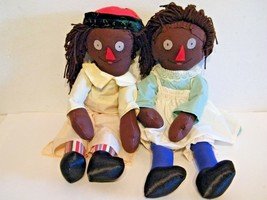 Folk Art Rag Dolls Cloth Black Americana Primitive Handmade Pair Vintage... - $19.75