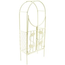 Touch of Nature Mini Iron Fairy Garden Arch with Gate, Cream - $9.61