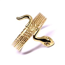 18K ROSE GOLD MAGICWIRE MULTI WIRES RING, ELASTIC WORKED SNAKE, WHITE TOPAZ image 2