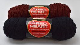 Vintage Red Heart Wintuk Orlon Acrylic 4 Ply Yarn - 2 Skeins: Wood Brown & Black - $12.30