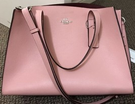 Coach NEW Pink Peony Silver Charlie Carryall Satchel Leather Handbag $35... - $297.41