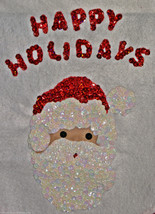 """Santa Claus Sequined Happy Holidays Wall Hanging Tapestry 14"""" x 18"""" Hand... - $14.97"""
